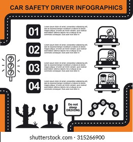 Car safety driver info graphics, black and white