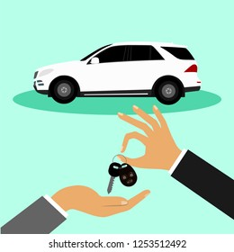 Car sale. Buying a car. Handing over the car keys to the buyer. Flat design.
