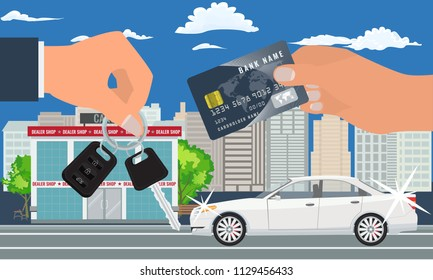 Car sale concept vector illustration. Customer buying car with credit card. Hand holding credit card and car key.