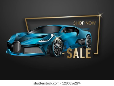 Car sale design template. layout template, cars for sale rent brochure, mockup flyer. Vector illustration