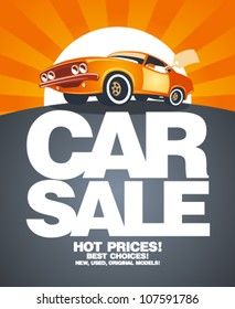 Car sale design template with retro car.