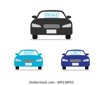 Car for sale, for rent, sold icons collection vector illustration. Car business icons