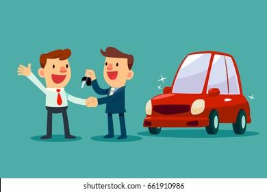 Car salesman give a handshake and new car key to businessman. Car sale. Auto business concept.