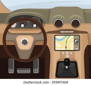 Car salon. Vector flat illustration