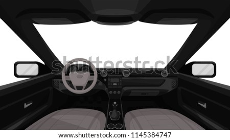 Car Salon View Inside Vehicle Dashboard Stock Vector Royalty Free