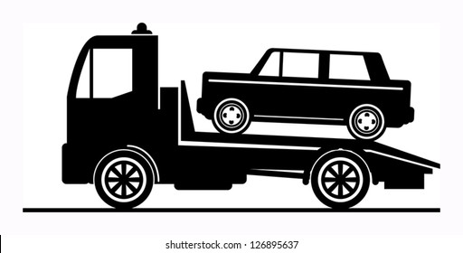 Car salvage and towing sign, vector illustration