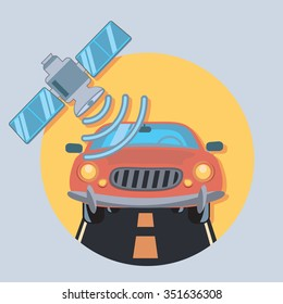 car and satellite circle icon with shadow