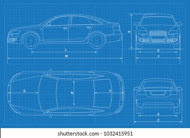 Car schematic or car blueprint. Vector illustration. Sedan car in outline. Business sedan vehicle template vector. View front, rear, side, top