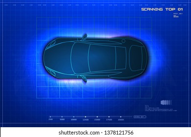 Car schematic or car blueprint.Top view sedan car in outline. Futuristic automotive technology with autonomous driving, driverless cars. Vector illustration