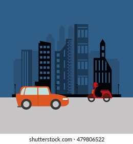 car and scooter with city background  transport image