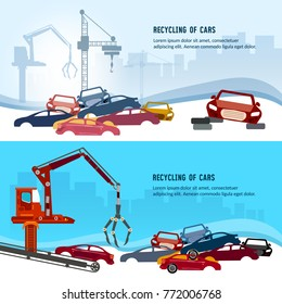 Car scrap metal dump vector. Recycling industrial factory. Industrial crane claw grabbing old car for recycling metal, utilization of cars