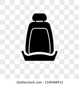 Car seat vector icon on transparent background, Car seat icon
