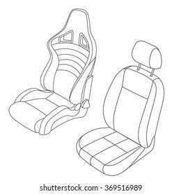 Car Seat vector line drawing set