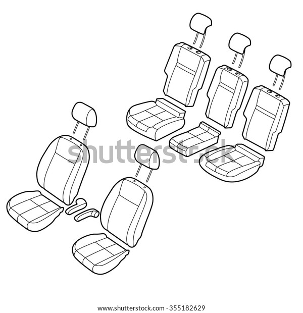 Car seats outline isometric drawing vector