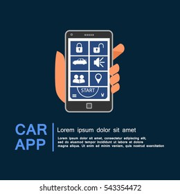 Car security app with smart phone, remote lock concept