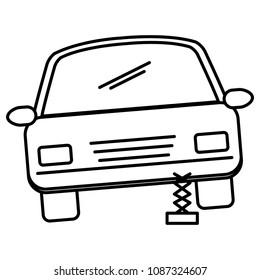 car sedan changing wheel