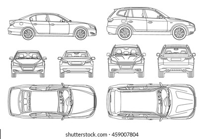 Car Sedan And Suv Drawing Outline