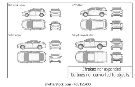 car sedan and suv drawing outline.