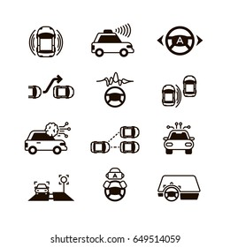 Car self control, futuristic driving intelligent vehicle systems vector icons