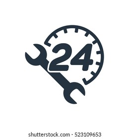 car service, 24 hours, call center, isolated icon on white background, auto service, car repair