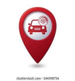 Car service. Car with air conditioner icon on red map pointer.