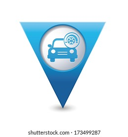Car service. Car with air conditioner icon on blue triangular map pointer. Vector illustration