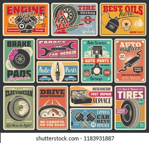 Car service and auto center vintage signboard. Vector retro design of car engine oil service, tire fitting or pumping and mechanic repair or spare parts store, keys, battery or oil