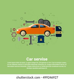 Car Service Auto Mechanics Business Web Banner Flat Vector Illustration