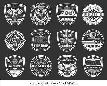 Car service, auto repair, spare parts and tire shop vector badges. Vehicle engine, wheel and motor oil, battery, piston and brakes, exhaust stack, spanner and wrench, rim, spark plugs and windscreen