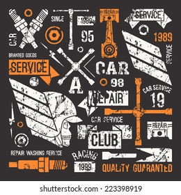 Car service badges in retro style. Graphic design for t-shirt. Print on black background