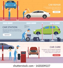 Car service banners. Mechanic workshop repair auto vector advertising banners. Illustration of mechanical inspection transport, worker profession fixing car