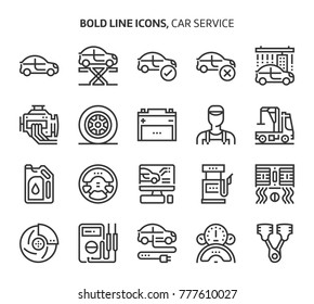 Car service, bold line icons. The illustrations are a vector, editable stroke, 48x48 pixel perfect files. Crafted with precision and eye for quality.