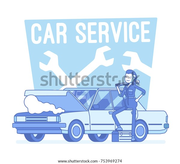 Car Service Center Qualified Female Automotive Stock Vector Royalty Free 753969274