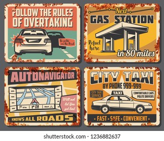 Car service, city taxi, gas station and road accident signboard. Vector vintage design of refueeling, overtake road rules, car taxi and navigator map of transportation traffic