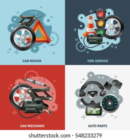 Car service concept icons set with tire service symbols realistic isolated vector illustration