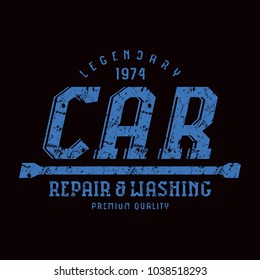 Car service emblem. Graphic design with rough texture for t-shirt. Blue print on black background