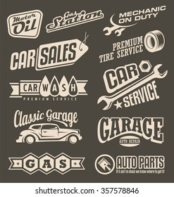 Car service emblems. Transportation label collection on dark background. On the road theme with auto related signs, logo designs layouts, symbols and icons.