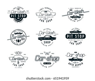 Car service emblems. Car wash and car shop labels. Isolated on white background