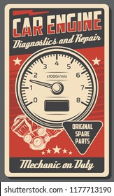 Car service and engine repair station vintage poster for automobile shop or mechanic garage. Vector retro design of tachometer, mechanic on duty. Original spare auto parts and restoration work