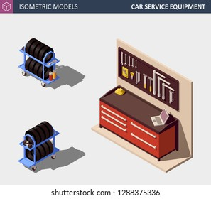 Car Service Equipment Set. Includes Tire Rack and Work Bench. Vector Isometric Illustration.