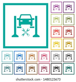 Car service flat color icons with quadrant frames on white background