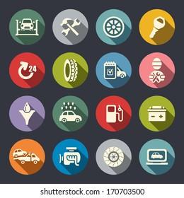 Car service flat icon set