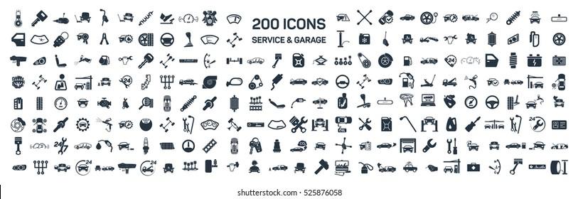 Serwis samochodowy & garaż 200 izolowane ikony ustawione na białym tle, naprawa, szczegóły samochodu