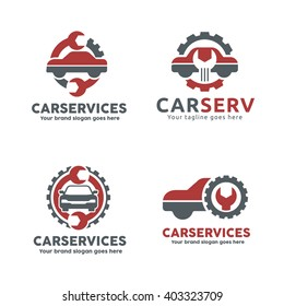 Car Service Garage Logo, Shop Brand Identity, Automobile  Repair Sign.