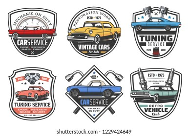 Car service and garage station icons. Vector retro badges of vehicle diagnostics, car mechanic tuning or restoration, wrenches and spare parts of engine, piston and spark plug shop