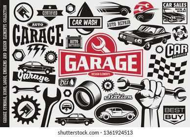Car service and garage symbols, logos, emblems and icons collection. Auto transportation cars icons set.Car sales, repair, race, road, auto parts design elements.