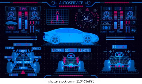 Car service. Graphical interface. Diagnostic alignment of the wheels. Check of shock-absorbers, the steering mechanism, ellipticity, brake system and the instrument panel. Vector illustration