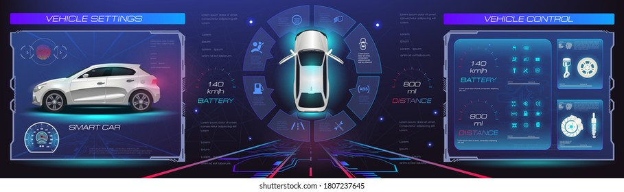Car service. Holographic digital interface. Dashboard, characteristics, description of the car. Futuristic car interface for website or video games. Realistic car in 3D space holographic in