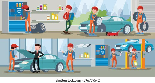 Car service horizontal banners with auto mechanics wheels replacement automobile repair process diagnostic and maintenance vector illustration
