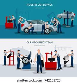Car service horizontal banners with mechanics symbols flat isolated vector illustration